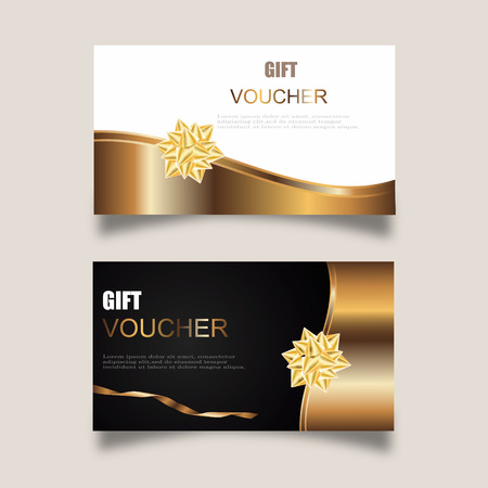 Vector set of luxury gift vouchers with ribbons and gift box. Elegant template for a festive gift card, coupon and certificate. Discount Coupon Template Vector Illustration Illustration