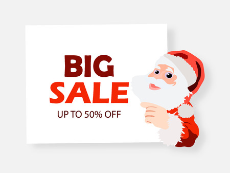 Big Sale banner. Santa Claus with signboard. Cute Santa standing behind a blank sign.
