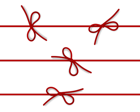 白い背景に分離された水平細いロープと装飾的なプラチナの弦の弓のセット。弓を持つベクトルひも