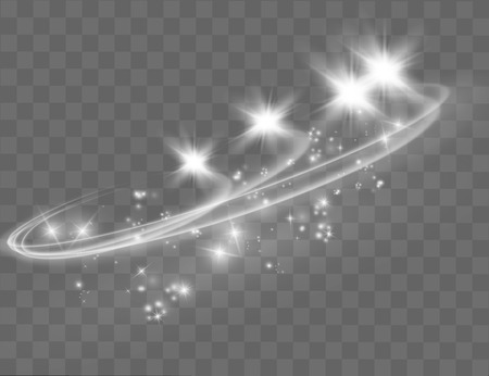 Abstract vector magic glow star light effect with neon blur curved lines. Sparkling dust star trail with bokeh. Illustration
