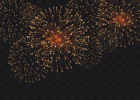 set of isolated vector fireworks on a transparent background. Ilustração Vetorial