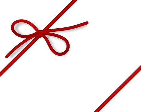 Shiny red satin ribbon on white background. Vector red bow and ribbon. Vektorové ilustrace