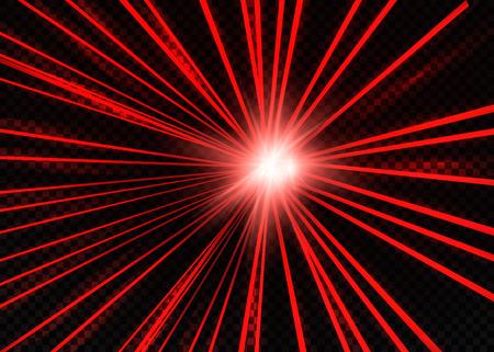 추상 빨간색 레이저 빔입니다. 투명 검은 배경에 고립입니다. 벡터 일러스트 레이 션.