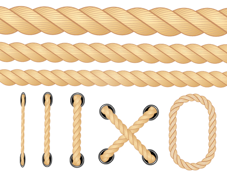 Nautical rope. Round and square rope frames, cord borders. Sailing vector decoration elements. Rope marine, nautical border, cord round, string knot twisted illustration Vettoriali