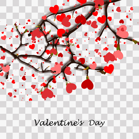Happy Valentine's Day. Red elements hanging on the branch for invitation or poster. Festive tree with paper heart shaped leaves