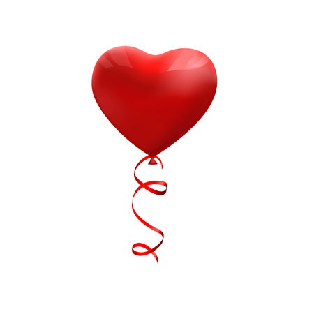 Valentines day red balloon with ribbon. Heart shape. Love, february 14 Vector Illustration