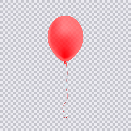 Realistic red balloon isolated on transparent background. Vector illustration. 向量圖像