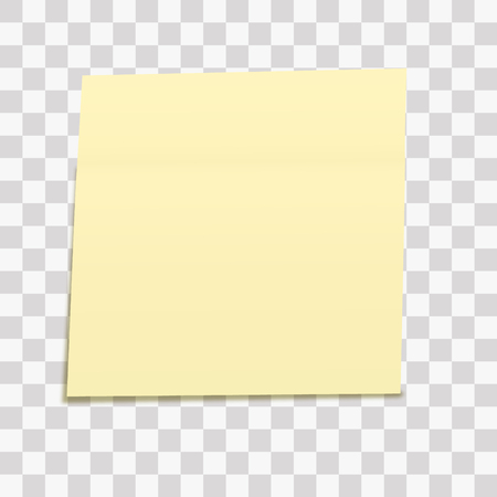 Yellow sticky note isolated on transparent background. Template for your projects. Vector illustration