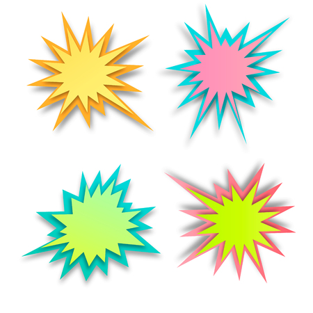 Set of paper style abstract backgrounds, bang or explosion bubbles isolated on white background Vektorové ilustrace