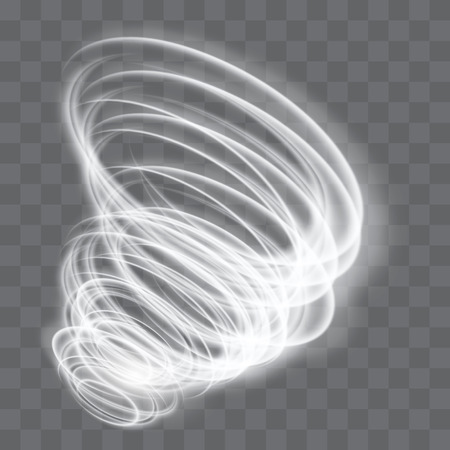 A glowing tornado. Rotating wind. Beautiful wind effect. Isolated on a transparent background. Vector illustration.