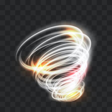 Une tornade rougeoyante. Vent tournant. Bel effet de vent. Isolé sur un fond transparent. Illustration vectorielle.