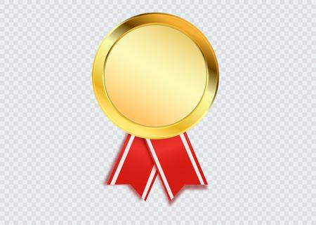 Concepto de ganador. Medalla de oro en blanco aislada en blanco. Premio o trofeo de vector