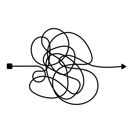 Línea desordenada loca. Manera complicada del ovillo. Ruta de vector de garabatos enredados. Proceso caótico difícil. Ilustración vectorial.