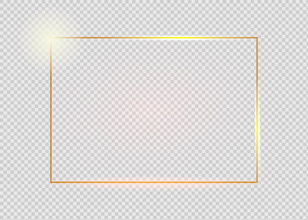 Gold shiny glowing vintage frame with shadows isolated on transparent background. Golden luxury realistic rectangle border. Vettoriali