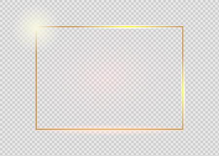 Goldglänzender leuchtender Vintage-Rahmen mit Schatten auf transparentem Hintergrund. Goldene realistische Rechteckgrenze des Luxus. Vektorgrafik