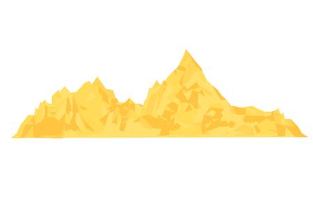 Montón de arena. Pila de cemento o ilustración de vector de dibujos animados de montículo de arena amarilla aislado sobre fondo blanco