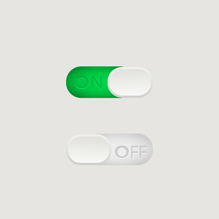 On and Off toggle switch buttons. Material design switch buttons set.