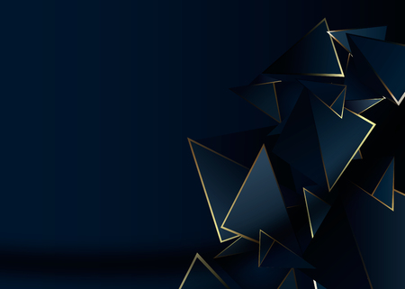 Abstrait motif polygonale luxe bleu foncé avec fond or Vecteurs