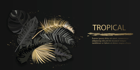Vector horizontal banner with black and gold tropical leaves on dark background. Luxury exotic botanical design for cosmetics, spa, perfume, aroma, beauty salon. Illustration