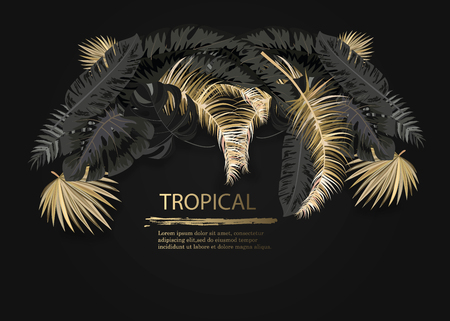 Vector arrangement with black and gold tropical leaves on dark background. Luxury exotic botanical design for cosmetics, spa, perfume, aroma, beauty salon. Ilustração