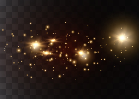 The dust sparks and golden stars shine with special light. Vector sparkles on a transparent background. Christmas light effect.