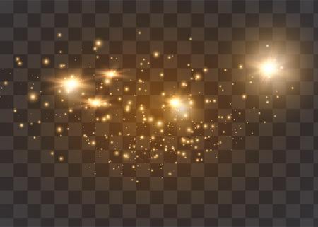 Die Staubfunken und goldenen Sterne leuchten in besonderem Licht. Vektor funkelt auf einem transparenten Hintergrund. Weihnachtslichteffekt.
