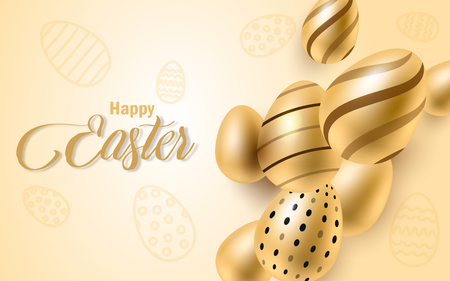 Happy Easter lettering background with realistic golden shine decorated eggs, confetti, golden brush splash. Vector illustration greeting card, ad, promotion, poster, flyer, Vetores