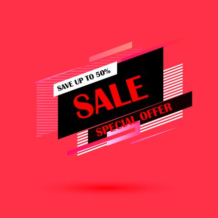 Super Sale and special offer. Vector illustration. Trendy neon geometric figures wallpaper in a modern material design style.