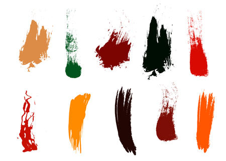 Craft label brush stroke backgrounds, paint or ink smudges vector for tags and stamps design. Painted label backgrounds patch. Color combinations catalog elements. Ink smudges, stains
