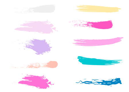 Craft label brush stroke backgrounds, paint or ink smudges vector for tags and stamps design. Painted label backgrounds patch. Color combinations catalog elements. Ink smudges, stains Vector Illustration