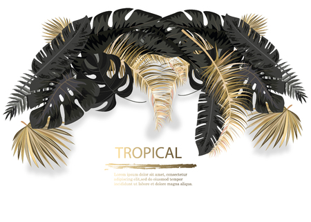 Vector horizontal banner with black and gold tropical leaves on dark background. Luxury exotic botanical design for cosmetics, spa, perfume, aroma, beauty salon. Illusztráció