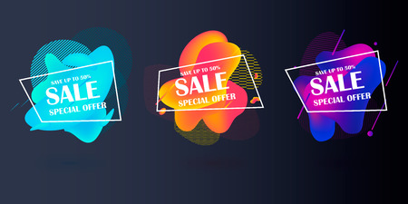 Super Sale and special offer. 50 off. Vector illustration. Trendy neon geometric figures wallpaper in a modern material design style.