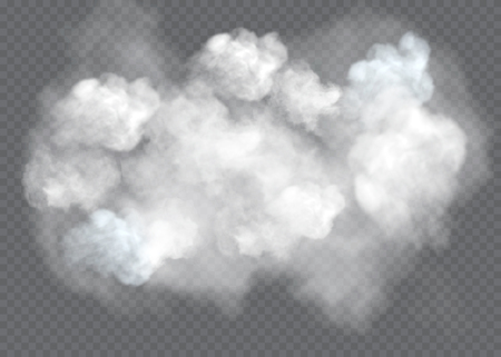 Transparent special effect stands out with fog or smoke. White cloud vector, fog or smog. Vector Illustratie