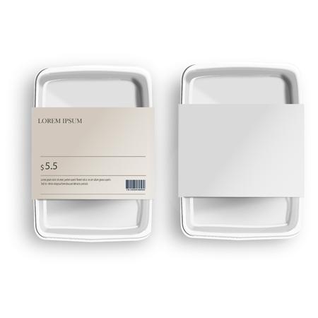 Weißes Mockup leerer leerer Plastikbehälter für Lebensmittel mit Etikett. Abbildung auf grauem Hintergrund isoliert. Mock-Up-Vorlage bereit für Ihr Design Vektorgrafik