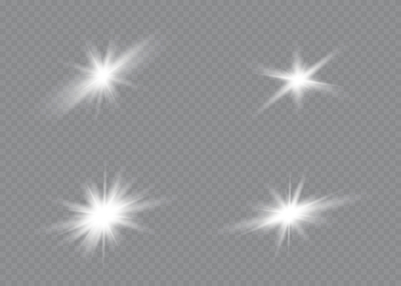 White glowing light explodes on a transparent background. Sparkling magical dust particles. Bright Star. Transparent shining sun, bright flash. Vector sparkles. Imagens - 132108206