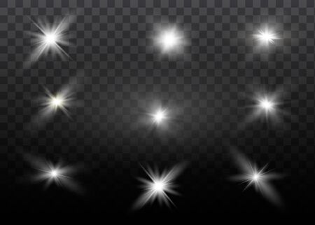 White glowing light explodes on a transparent background. Sparkling magical dust particles. Bright Star. Transparent shining sun, bright flash. Vector sparkles. To center a bright flash. Ilustração Vetorial