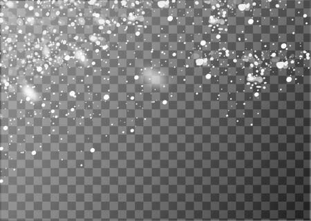 Fiocchi di neve che cadono realistici. Isolato su sfondo trasparente. Illustrazione vettoriale Vettoriali