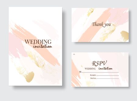 Coral gold greeting brush strokes wedding decoration. Vector glitter orange sparkling background. Watercolor spring hand-drawn design.  イラスト・ベクター素材
