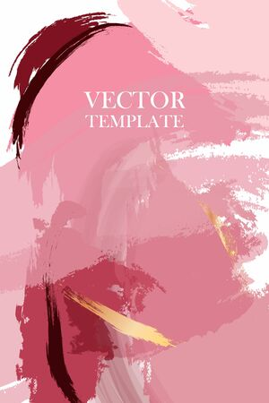 Abstract dusty pink Fluid creative template, cards, color covers set. Geometric design, liquids, shapes with gold foil glitter. Trendy vector abstract art 2020.