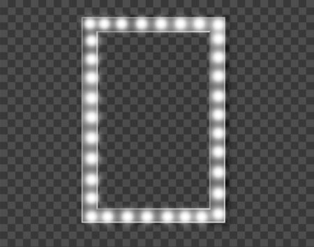 Makeup mirror isolated with gold lights. Vector illustration 向量圖像