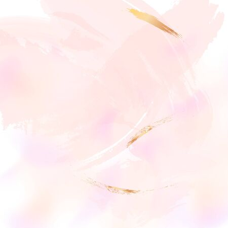 Vector Nude rose brush strokes with golden sparkles pattern, luxury outline decoration. Pastel pink delicate decoration background.
