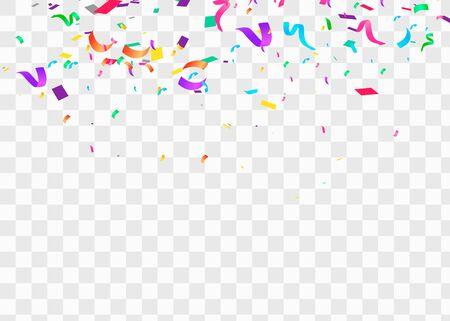 Konfetti na przezroczystym tle. Spadające konfetti, urodziny ilustracji wektorowych