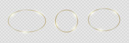 Gold shiny glowing frames set with shadows isolated on transparent background. Pack of luxury round, oval borders. Vector illustration