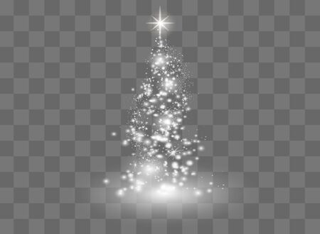 Illumination Lights Shiny Christmas tree Isolated on Transparent Background. White tree as symbol of Happy New Year, Merry Christmas holiday celebration. Bright light decoration design. Vector. Vettoriali
