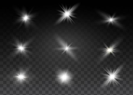 White glowing light explodes on a transparent background. Sparkling magical dust particles. Bright Star. Transparent shining sun, bright flash. Vector sparkles. To center a bright flash Vettoriali