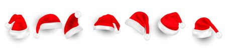 Big set of realistic Santa Hats isolated on transparent background.