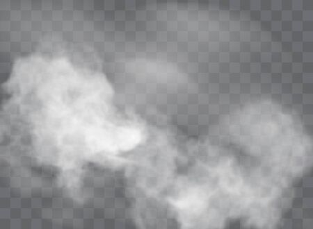 Transparent special effect stands out with fog or smoke. White cloud vector, fog or smog Stock Illustratie