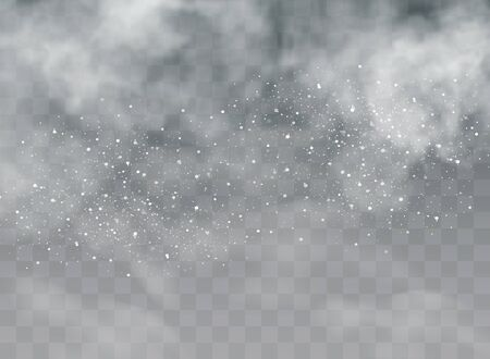 Falling snow on a transparent background. Snow clouds or shrouds. Fog, snowfall. Abstract snowflake background.