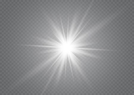 Light flare special effect with rays of light and magic sparkles. Glow transparent vector light effect set, explosion, glitter, spark, sun flash. Vettoriali