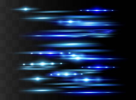 Blue horizontal lens flares pack. Laser beams, horizontal light rays.Beautiful light flares. Glowing streaks on dark background. Luminous abstract sparkling lined background. Ilustração